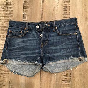 LEVIS 501 Denim Jean Cut Off Shorts Button Fly 26